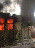 آتش سوزی گسترده کارگاه رنگ آمیزی کتیبه در واحد مسکونی کرمانشاه